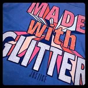 """Justice """"Made With Glitter"""" Blue Hoodie"""